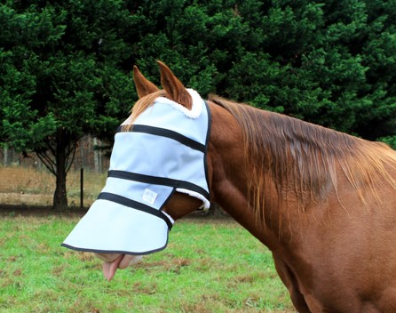 Full face UV protection shade with a rigid band over eyes at forehead keeping all of the material away from the horses eyes.